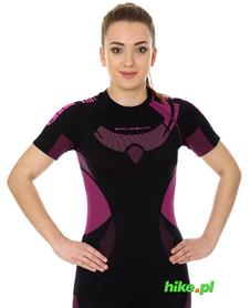 Brubeck Dry damska koszulka termoaktywna krótki rękaw czarny/amarant