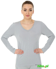 Brubeck piżama Comfort Night - koszulka damska z długim rękawem jasnoszara