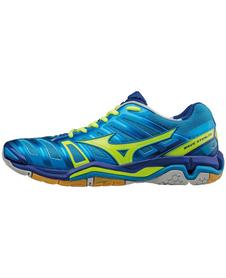 Mizuno Wave Stealth 4 - buty halowe - niebiesko-zielone