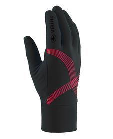 Viking Flex cienkie rękawiczki z poduszkami żelowymi czarne-czerwone