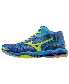 Mizuno Wave Tornado X MID - wysokie buty siatkarskie - niebieskie