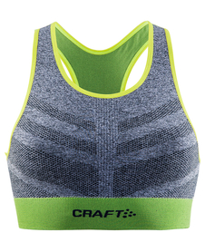 Craft Comfort Mid Impact Bra - damski top sportowy - szary / limonka