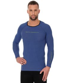Brubeck 3D Run PRO męska koszulka do biegania długi rękaw niebieska