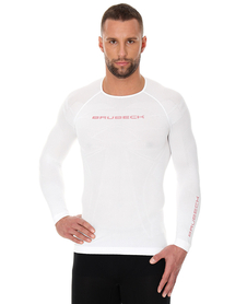 Brubeck 3D Run PRO męska koszulka do biegania długi rękaw biała