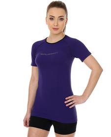 Brubeck 3D Run PRO damska koszulka do biegania krótki rękaw fioletowa