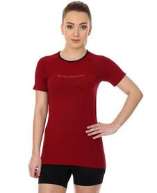 Brubeck 3D Run PRO damska koszulka do biegania krótki rękaw wiśniowa