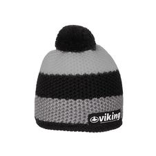 Viking Windstopper - wiatroszczelna czapka  z pomponem- szara/czarna