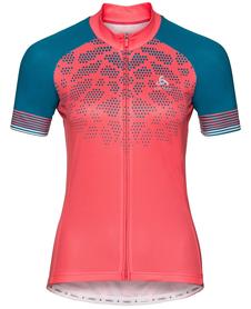Odlo Fujin Print - damska koszulka rowerowa z krótkim rękawkiem koralowa/niebieska