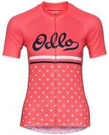 Odlo Fujin Print - damska koszulka rowerowa z krótkim rękawkiem koralowa
