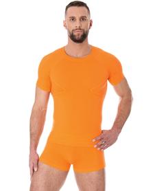 Brubeck Active Wool - koszulka męska z wełną merino pomarańczowa