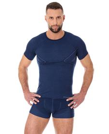 Brubeck Active Wool - koszulka męska z wełną merino granatowa