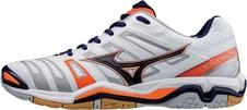 Mizuno Wave Stealth 4 - buty halowe - białe-pomarańczowe AW17