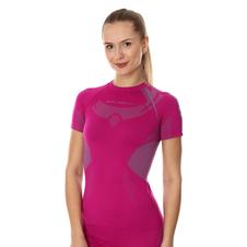 Brubeck Dry damska koszulka termoaktywna krótki rękaw fuksja/szary