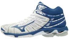 buty do siatkówki Mizuno Wave Voltage Mid - białe/niebieskie